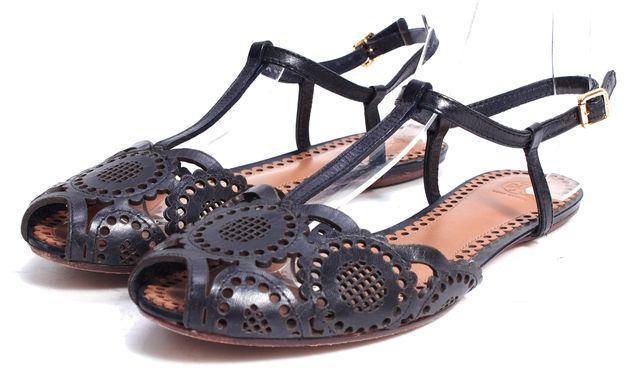 TORY BURCH Black Leather Cut Out Details T-Strap Sandal Flats
