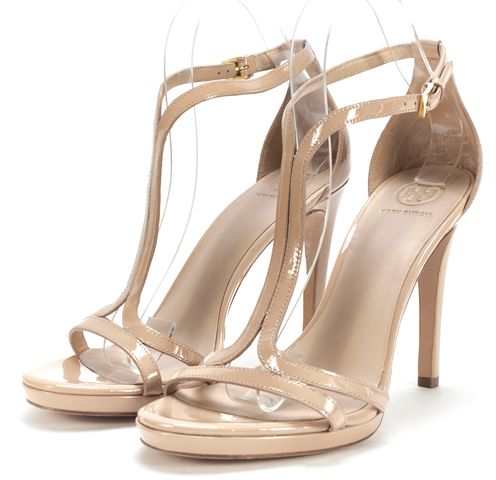 TORY BURCH Nude Beige Patent Leather Strap Sandal Heels