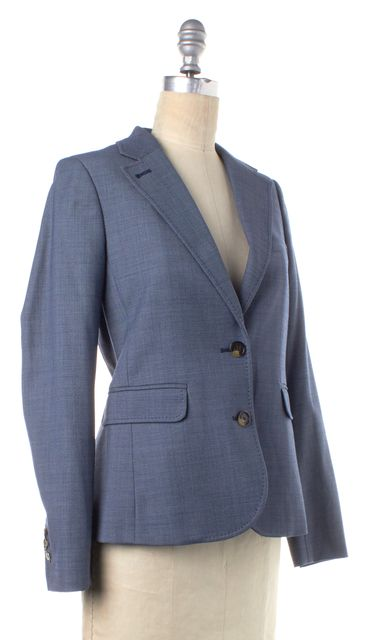 TORY BURCH Blue Wool Two Button Blazer