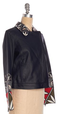 TORY BURCH Navy Blue Floral Embroidered Leather Motorcycle Jacket