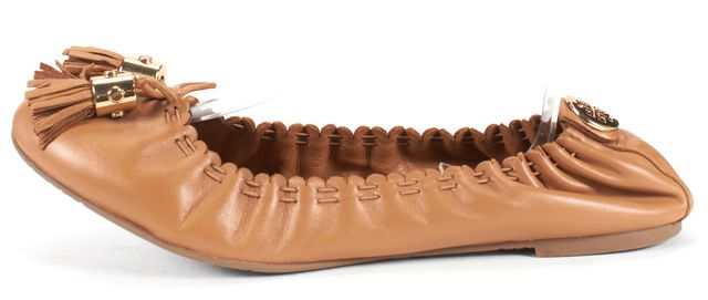 TORY BURCH Brown Leather Gold Fringe Tassel Flats