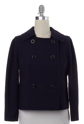 TORY BURCH Navy Blue Wool Double Breasted Jacket