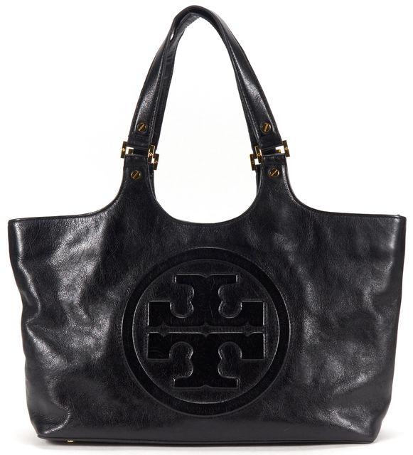 TORY BURCH Black Leather Tote Shoulder Bag