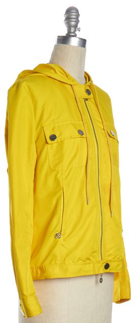 TORY BURCH Yellow Hooded Zip Up Jacket