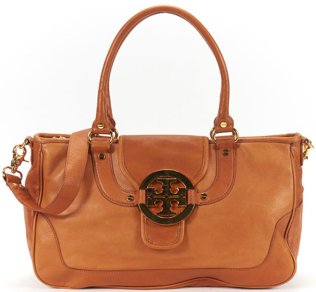 TORY BURCH Brown Leather Top Handle Shoulder Bag