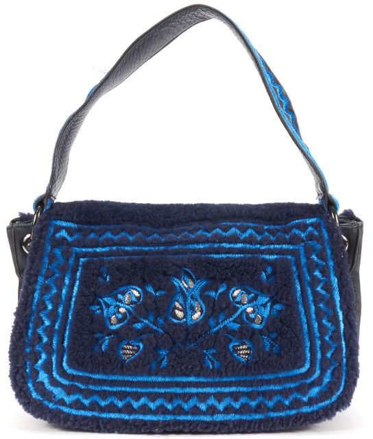 TORY BURCH Navy Suede Shearing Embroidery Shoulder Bag
