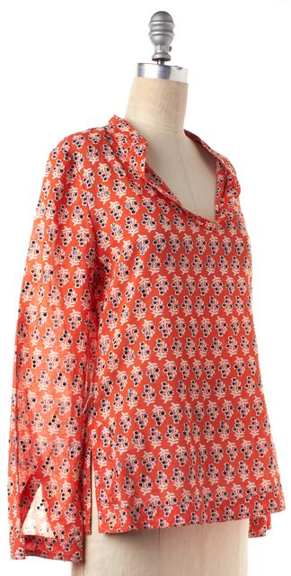 TORY BURCH Orange White Sequin Embellished Long Sleeve Top