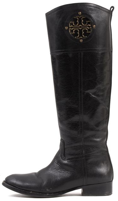 TORY BURCH Black Leather Mid-Calf Tall Boots