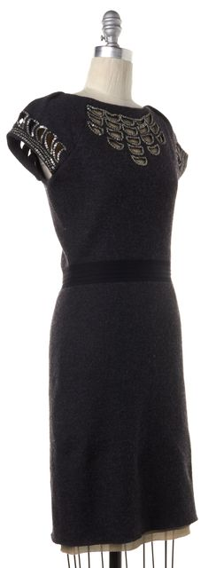 TORY BURCH Gray Sequin Embellished Wool Sweater Dress