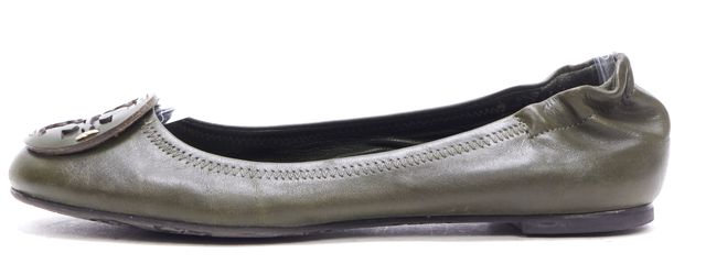 TORY BURCH Green Leather Flats