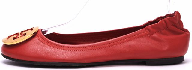 TORY BURCH Red Leather Reva Ballet Flats