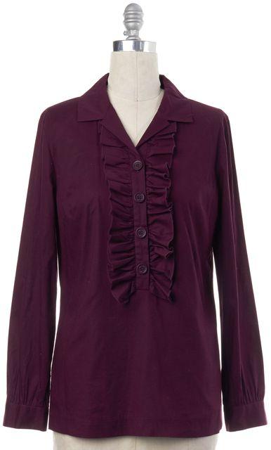TORY BURCH Purple Ruffle Button Down Blouse Top
