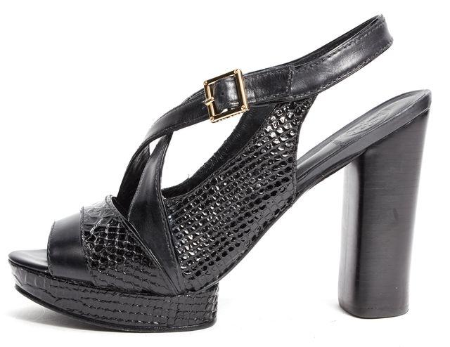 TORY BURCH Black Snake Embossed Leather Criss Cross Platform Heels