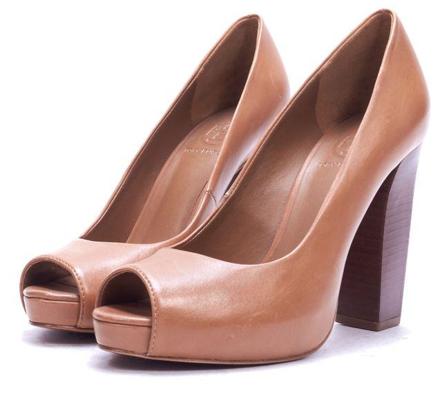 TORY BURCH Brown Leather Peep Toe Pump Heels