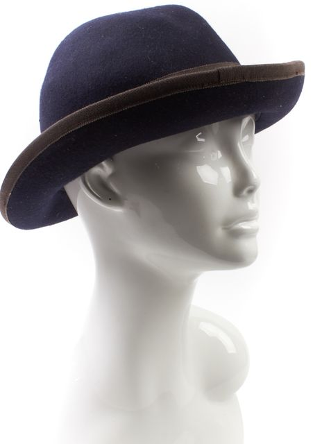 TORY BURCH Navy Blue Gray Wool Fedora Hat One Size