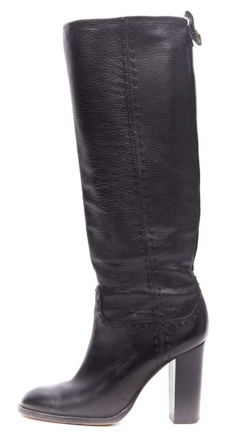 TORY BURCH Black Leather Knee High Heeled Boots