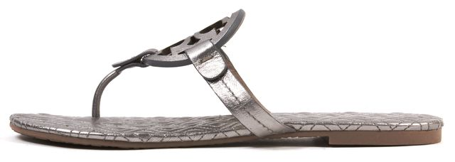TORY BURCH Silver Leather Marion Quilted Sandal