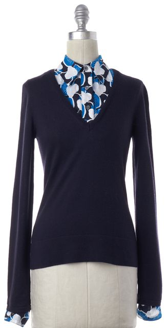TORY BURCH Navy Blue Wool Knit Collared Top