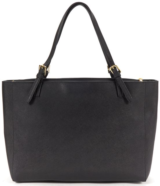TORY BURCH Black Saffiano Leather Tote Shoulder Bag