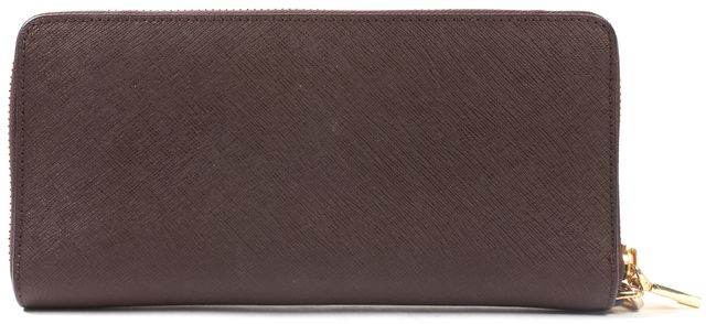 TORY BURCH Brown Saffiano Leather Zip Around Continental Wallet