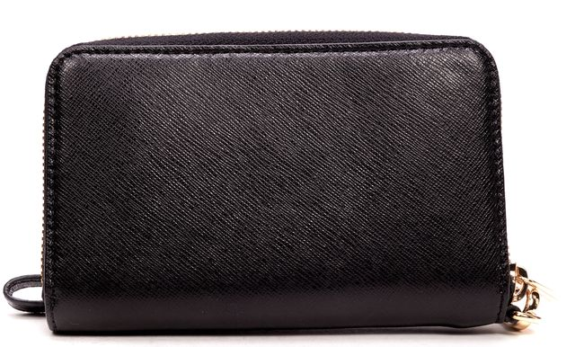 MICHAEL KORS Small Gold Plated Black Saffiano Leather Wallet