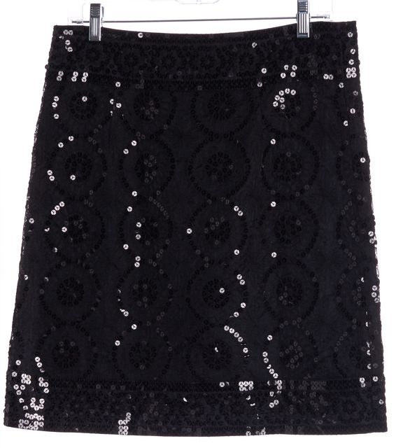TORY BURCH Black Sequin Embroidered Pencil Skirt