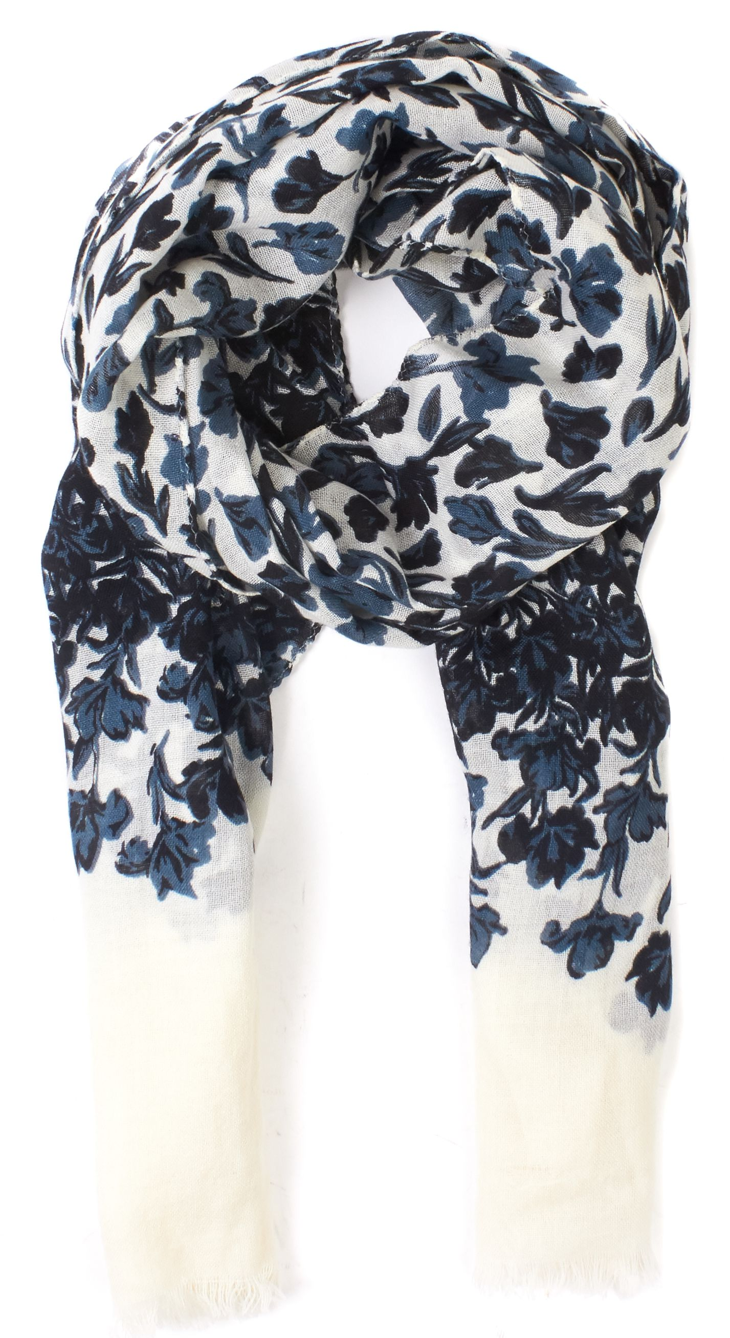 Tory Burch Blue Black White Floral Printed Long Lightweight Scarf ...