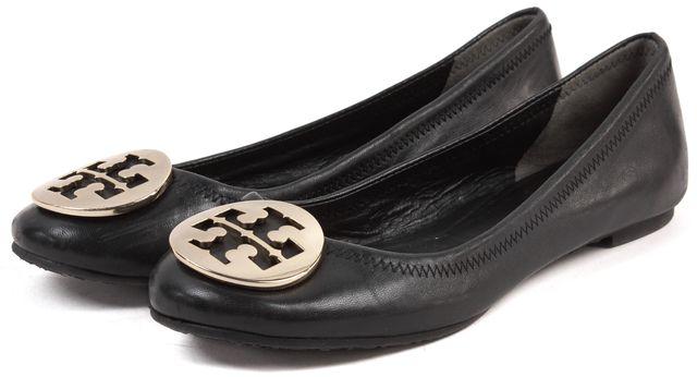 TORY BURCH Black Leather Gold Logo Reva Ballet Flats