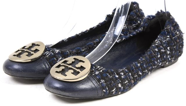 TORY BURCH Blue Tweed Gold Logo Reva Ballet Flats