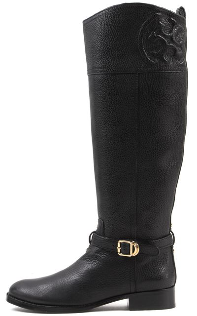 TORY BURCH Black Pebbled Leather Gold Buckle Simone Knee-High Boots