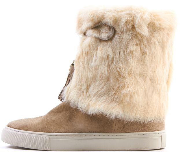 TORY BURCH Beige Tassle Embellished Suede Fur Ankle Boots