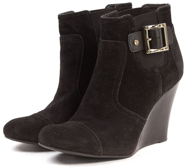 TORY BURCH Brown Suede Wedges Ankle Boots