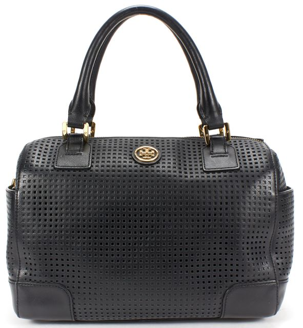 TORY BURCH Black Perforated Saffiano Leather Top Handle Bag