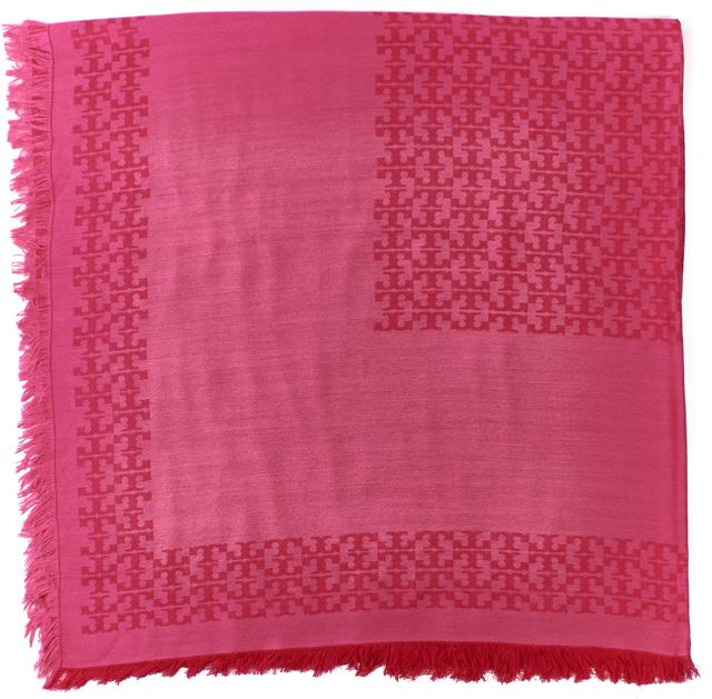TORY BURCH Pink Logo Knit Large Square Fringe Scarf