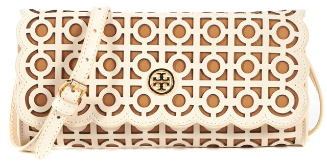 TORY BURCH White Leather Geometric Cut-Out Crossbody Bag