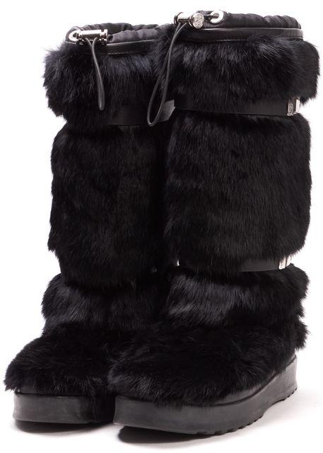 TORY BURCH Black Rabbit Fur Mid-Calf Boots