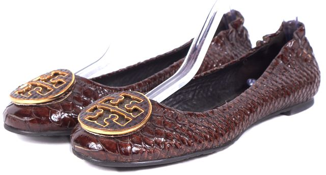 TORY BURCH Maroon Snakeskin Embossed Patent Leather Reva Flats