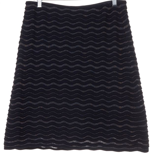 TORY BURCH Navy Green Scalloped Wool Blend A-Line Skirt