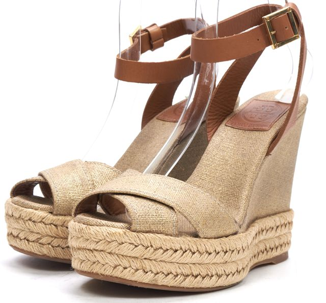 TORY BURCH Beige Brown Canvas Leather Wedge Sandals