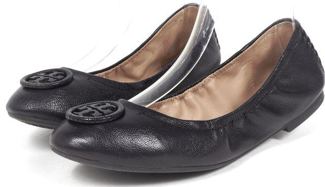TORY BURCH Black Leather Elastic Ballet Flats