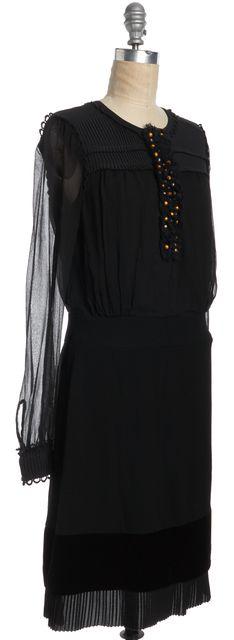 TORY BURCH Black Embellished Pleated Long Sleeve Silk Dress
