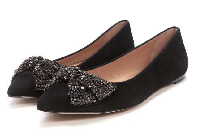 TORY BURCH Black Embellished Bow Suede Vanessa Pointed Toe Ballet Flats