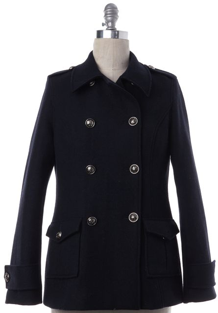 TORY BURCH Navy Blue Short Wool Double Breasted Peacoat Jacket