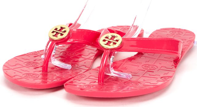 TORY BURCH Fuchsia Pink Casual Jelly Thong Sandals Slip-On Flip Flops