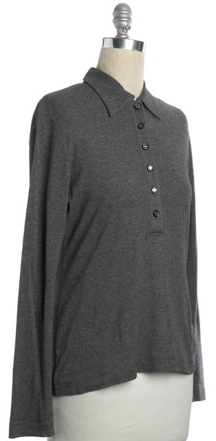 TORY BURCH Gray Pima Cotton Logo Buttons Long Sleeve Polo Shirt Top