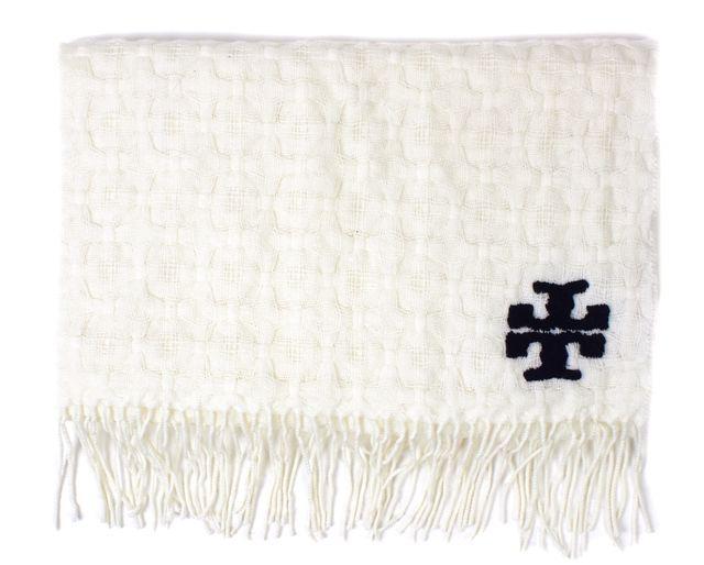 TORY BURCH White Navy 100% Merino Wool Knit Long Fringe Scarf