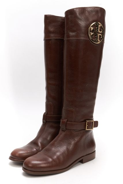 TORY BURCH Brown Leather Round Toe Riding Boots Size 5 | eBay