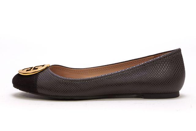TORY BURCH Black Lizard Embossed Leather Suede Cap Toe Flats