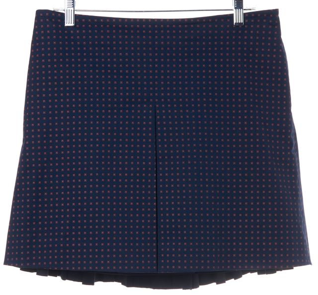 TORY BURCH Navy Blue Geometric Pleatged A-Line Skirt