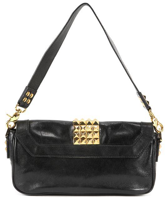 TORY BURCH Black Leather Gold Studded Shoulder Bag
